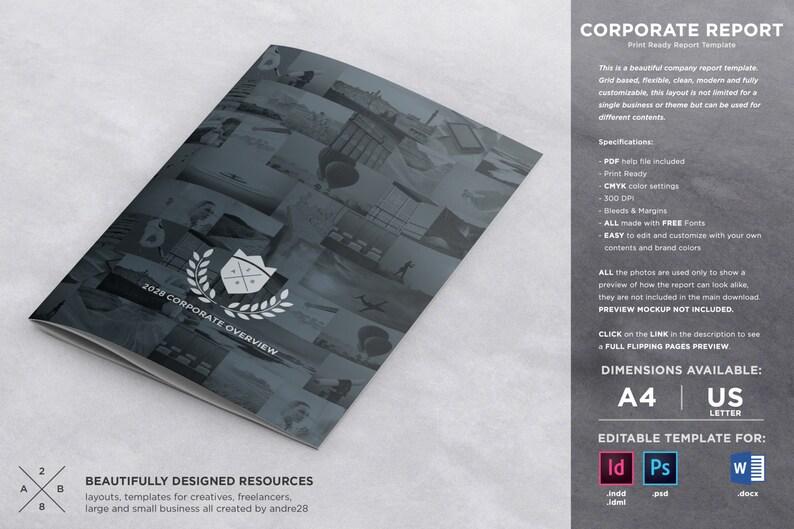 Corporate Brochure Report Template Etsy