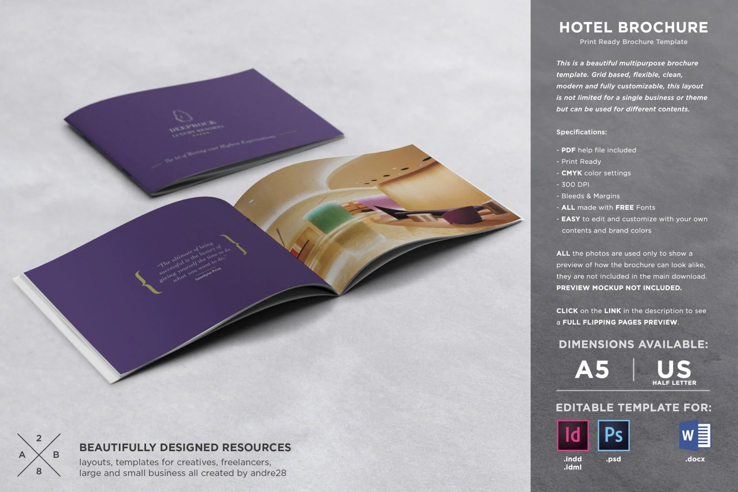 Hotel Brochure Template Etsy