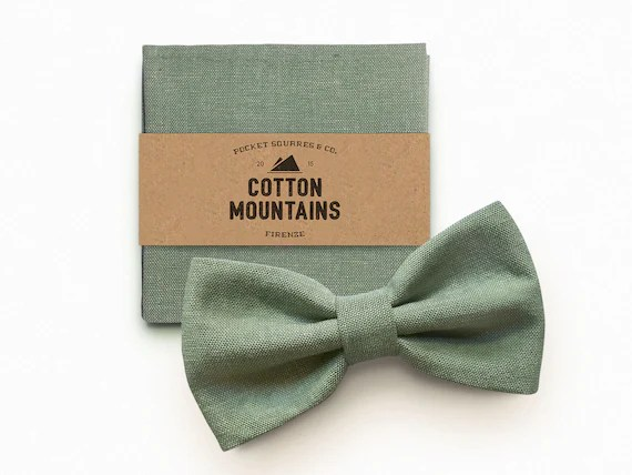 Bow Tie And Handkerchief Sage Green For Men Etsy