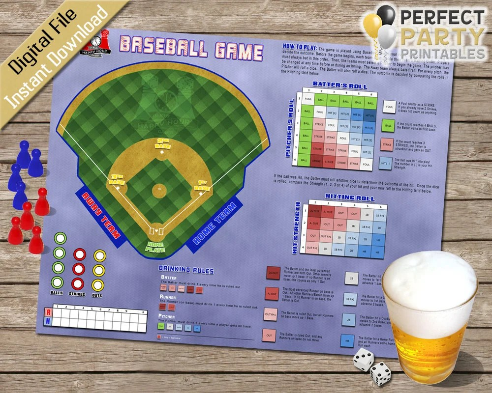 Drinking Game Baseball Board Game Party Game Oversized Etsy