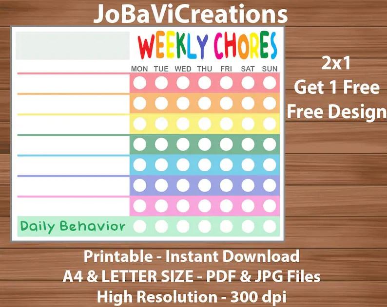 Chore Chart Kids Childs Chore Chart Printable Chore Chart Etsy