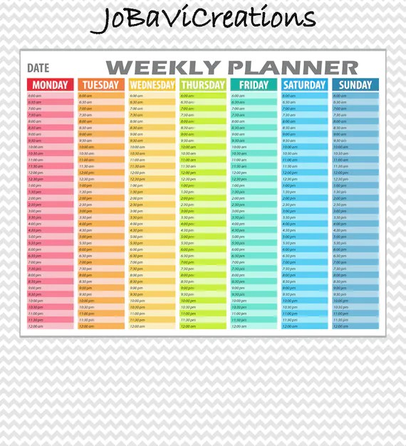 Hourly Weekly Planner Printable Daily Planning Printable Etsy