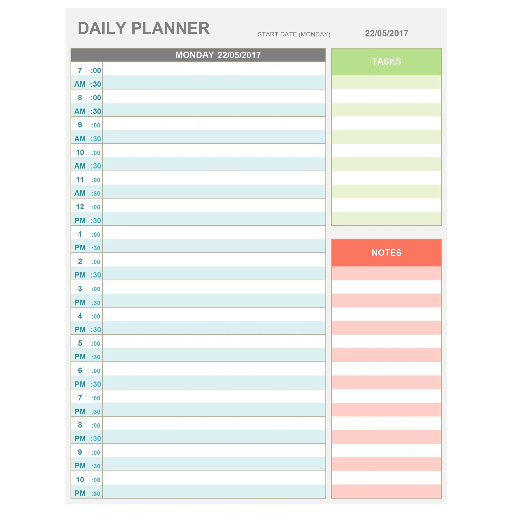 EXCEL Daily Hourly Planner Printable  Editable Daily Etsy