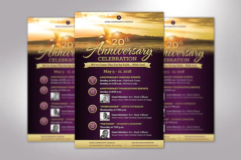 Church Anniversary Flyer Publisher Template Changeable Etsy