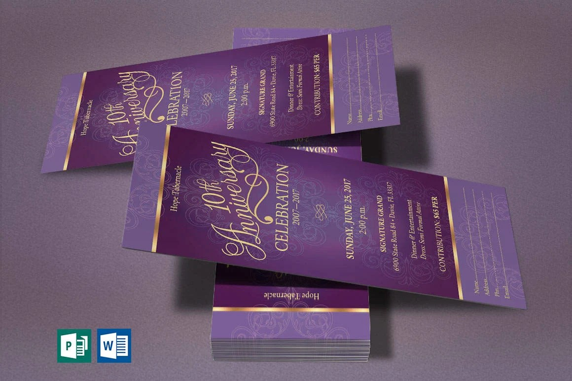 Purple Gold Church Anniversary Word Publisher Ticket Template Etsy