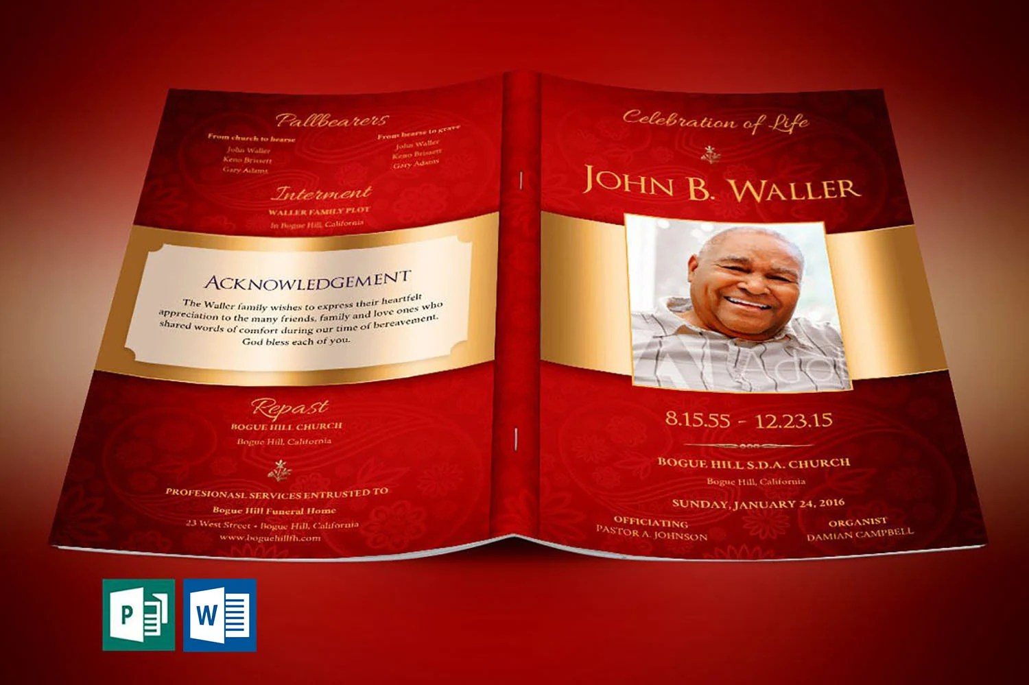 Red Gold Dignity Funeral Program Word Publisher Template Etsy