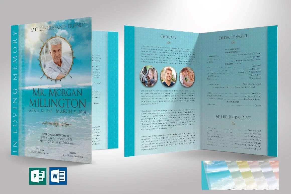 Oceanic Funeral Program Tabloid Word Publisher Template 4 Etsy