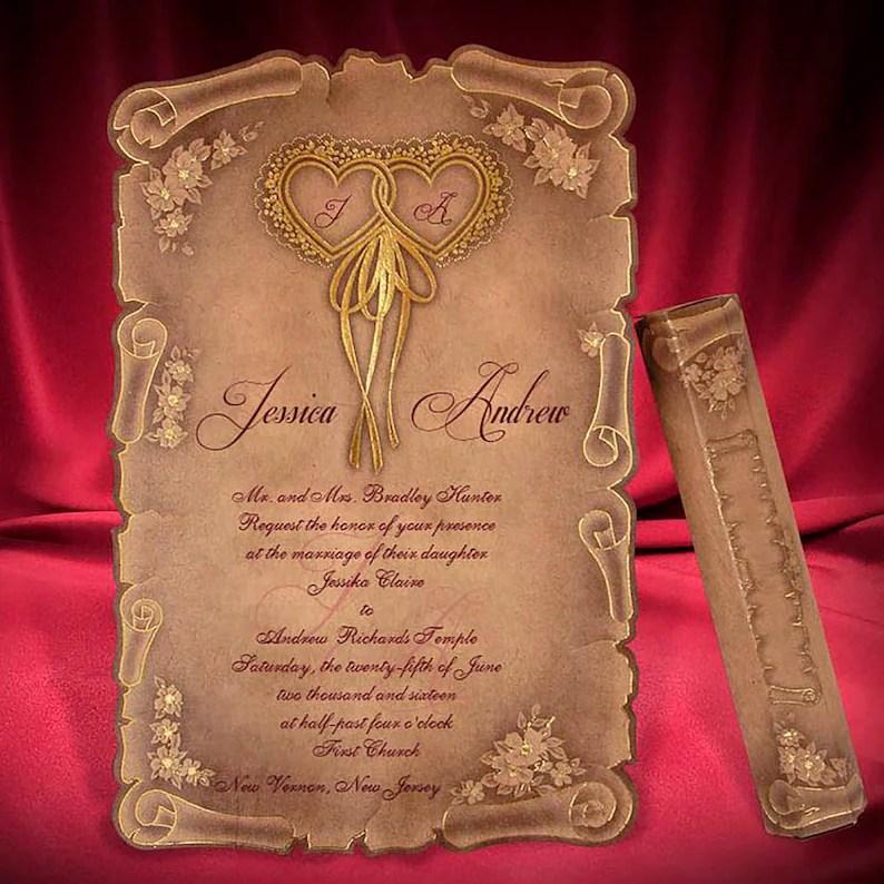 Scroll Wedding Invitation Card Medieval Style Wedding Etsy