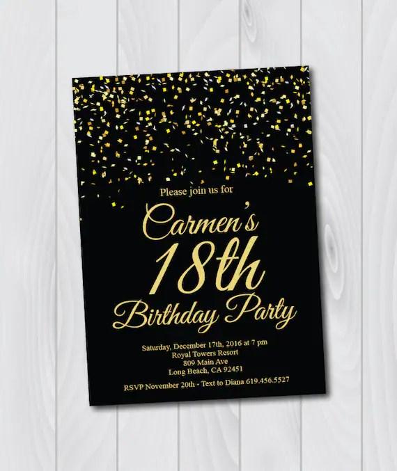 18th Birthday Invitation/Printable Gold  Black Birthday Etsy
