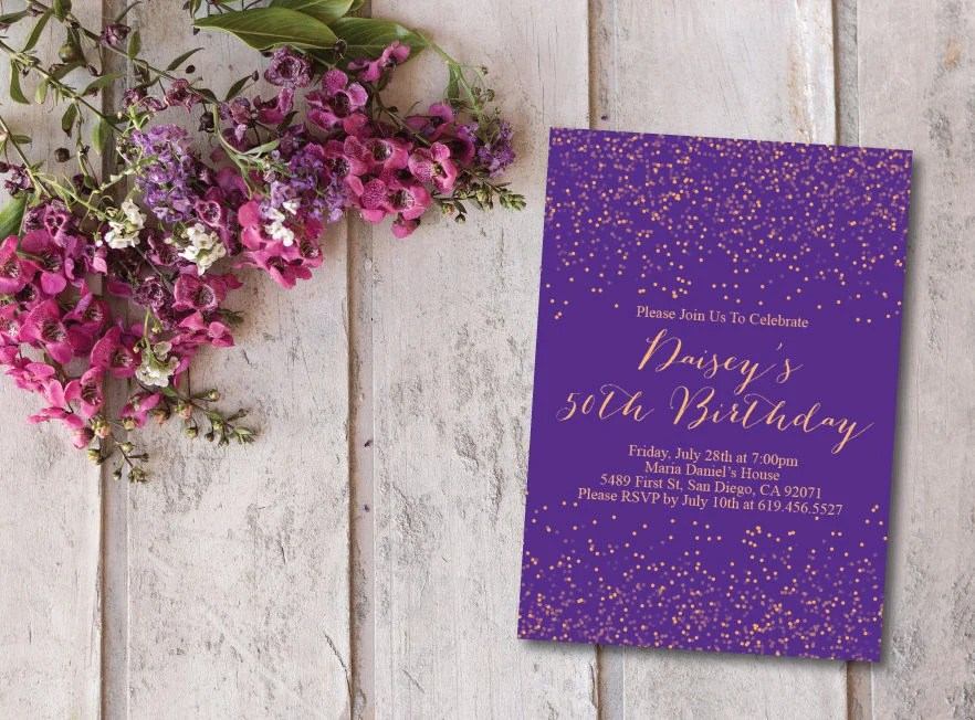 Birthday Invitation Card/Printable Gold and Purple Birthday Etsy