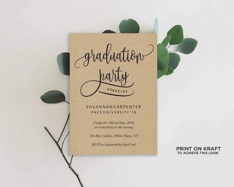 Graduation Party Invitation Template Editable Invitation Etsy