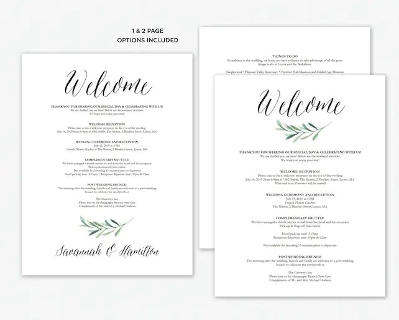 Wedding Itinerary Wedding Welcome Bag Template, Printable
