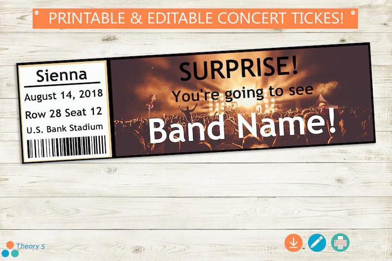 SURPRISE Concert Tickets   Adobe Reader Editable PDF   Etsy