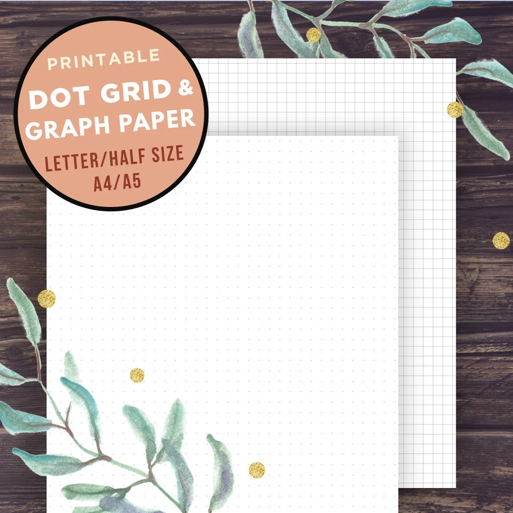 Bullet Journal Template GRAPH paper and Dot Grid Half Size Etsy