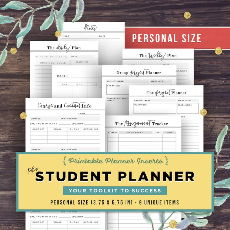 PERSONAL inserts College Student Planner Project Planner Etsy