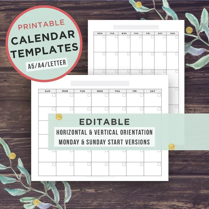 Editable Calendar Template Printable Calendar Monday Start Etsy