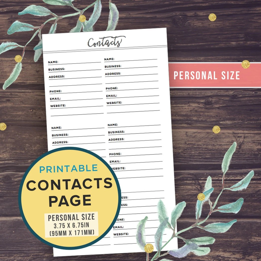 Printable Personal Planner Pages CONTACTS page Address Book Etsy