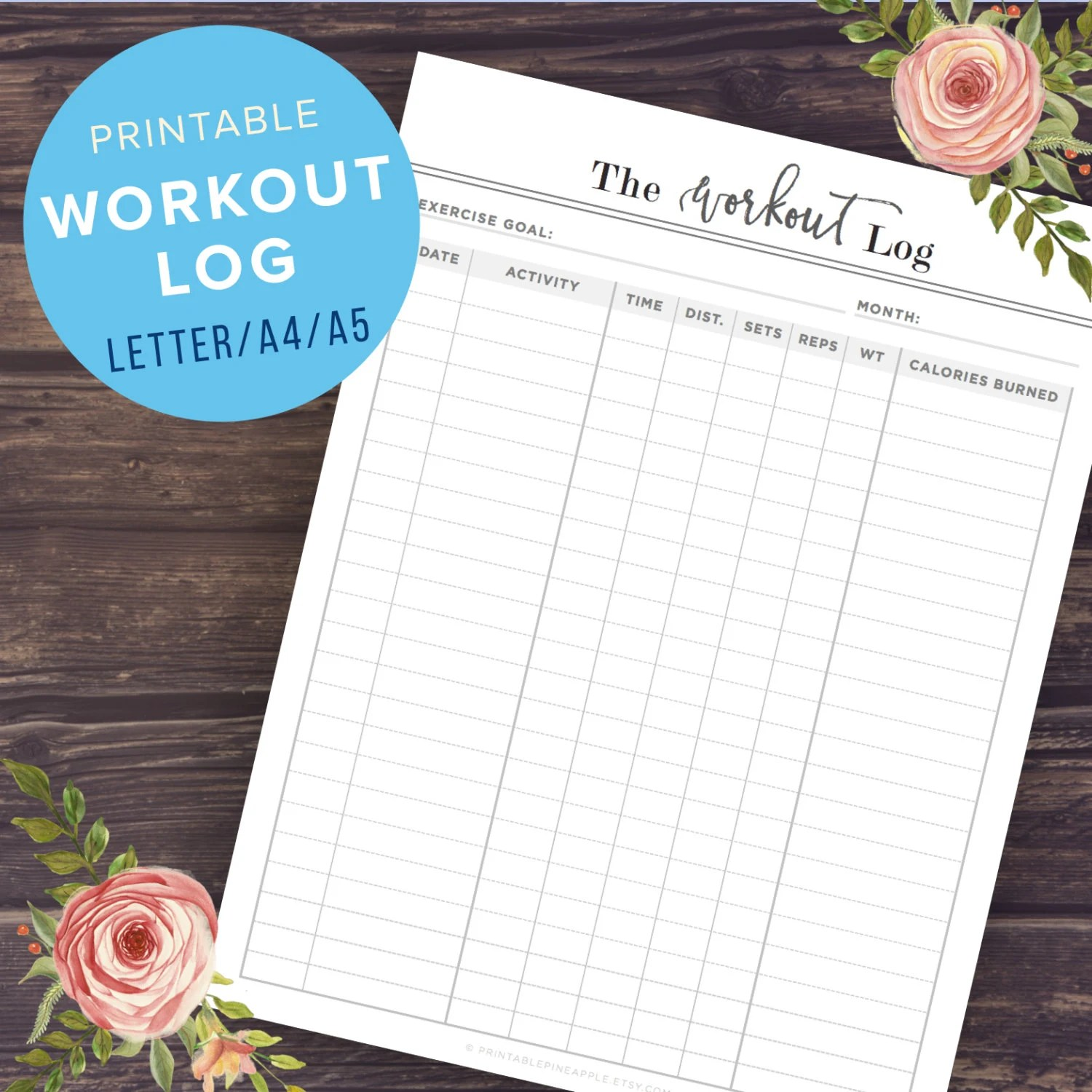 Workout Log Exercise Planner Printable Health and Fitness Etsy