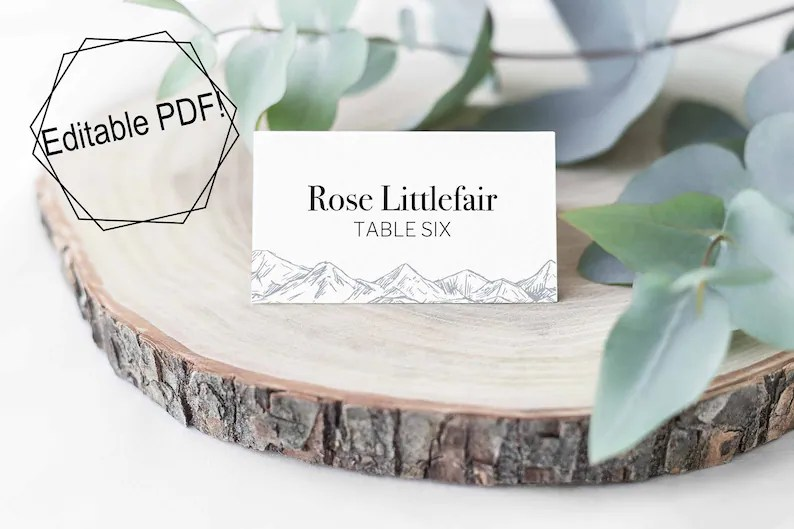 Escort Cards Table Card Template Instant Download Table Etsy