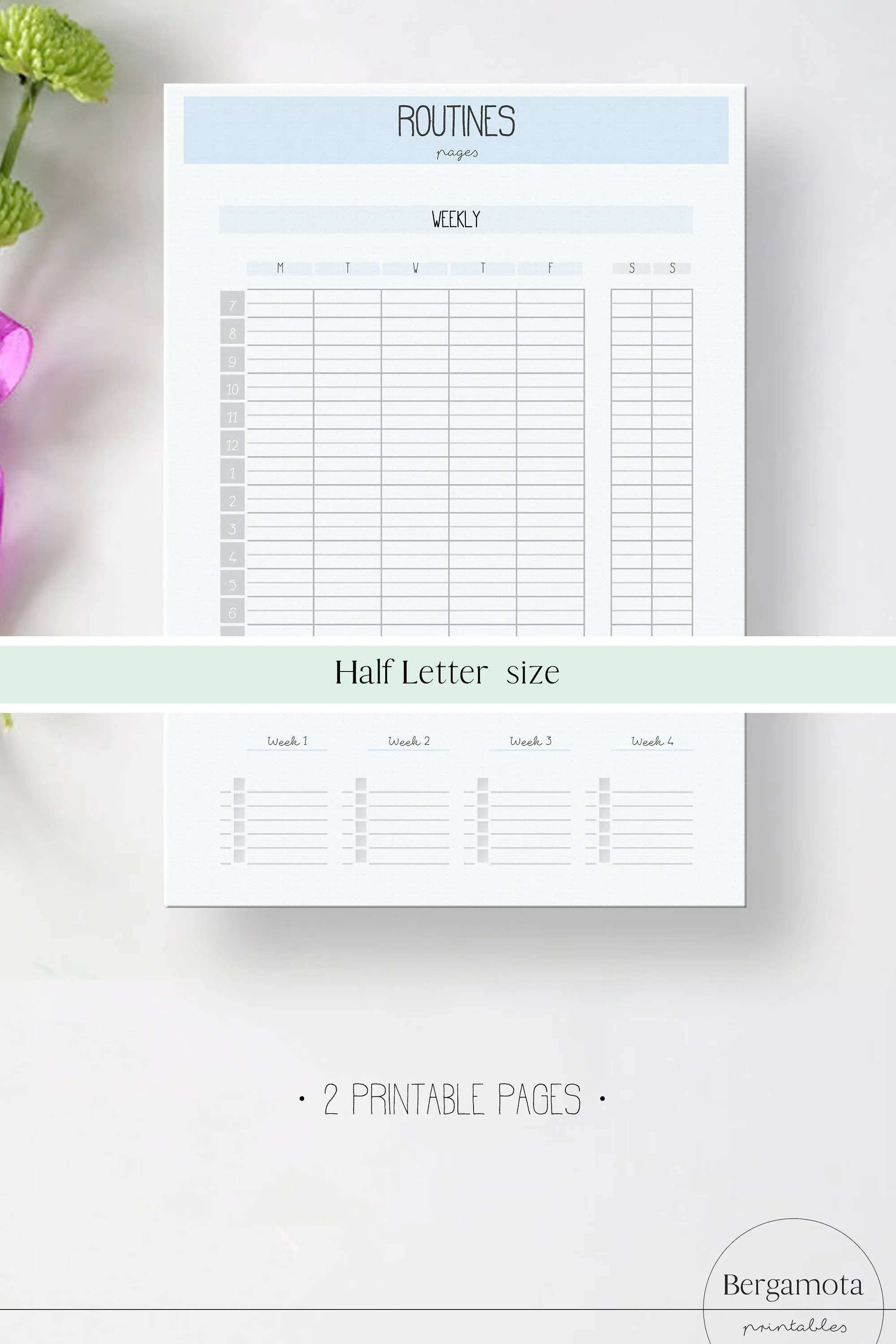 ROUTINES chart pages 2 printable planner pages Half Letter Etsy