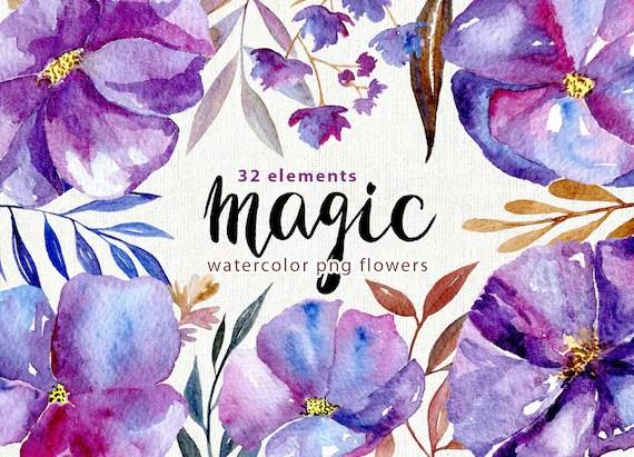 Watercolor floral clipart 32 purple violet blue flowers Etsy