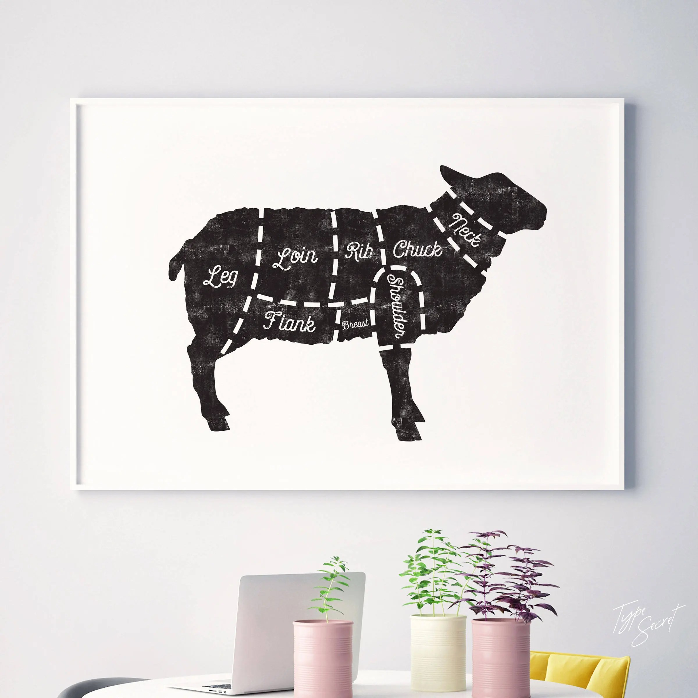 Butcher diagram kitchen art butcher print meat charts for Etsy