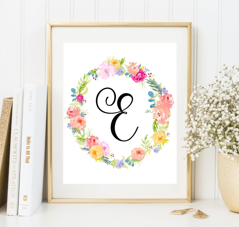 Nursery Monogram E Letter Custom Printable Art Nursery Etsy