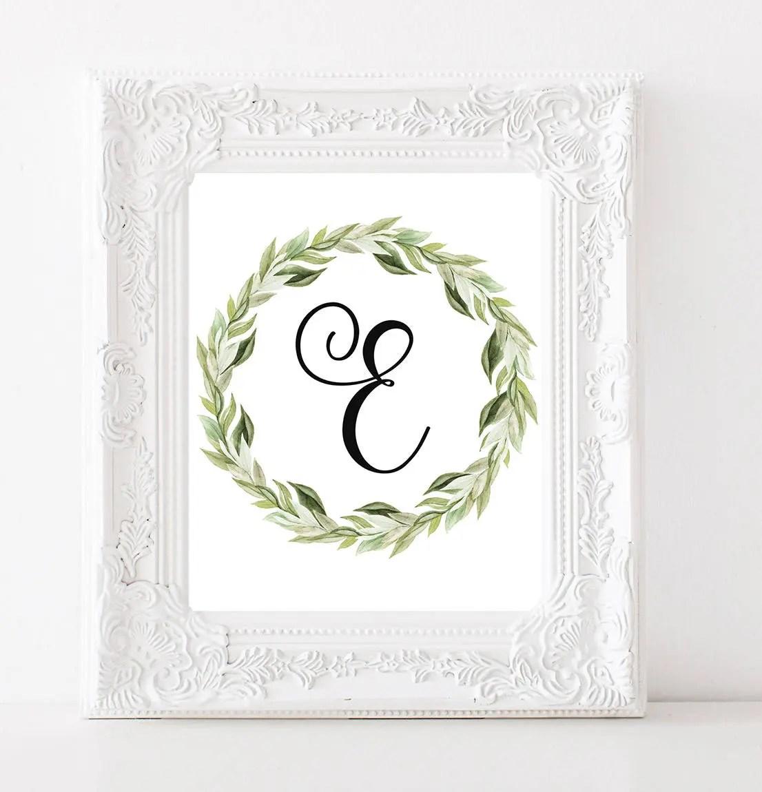 Nursery Monogram E Letter Monogram Laurel Wreath Print Letter Etsy