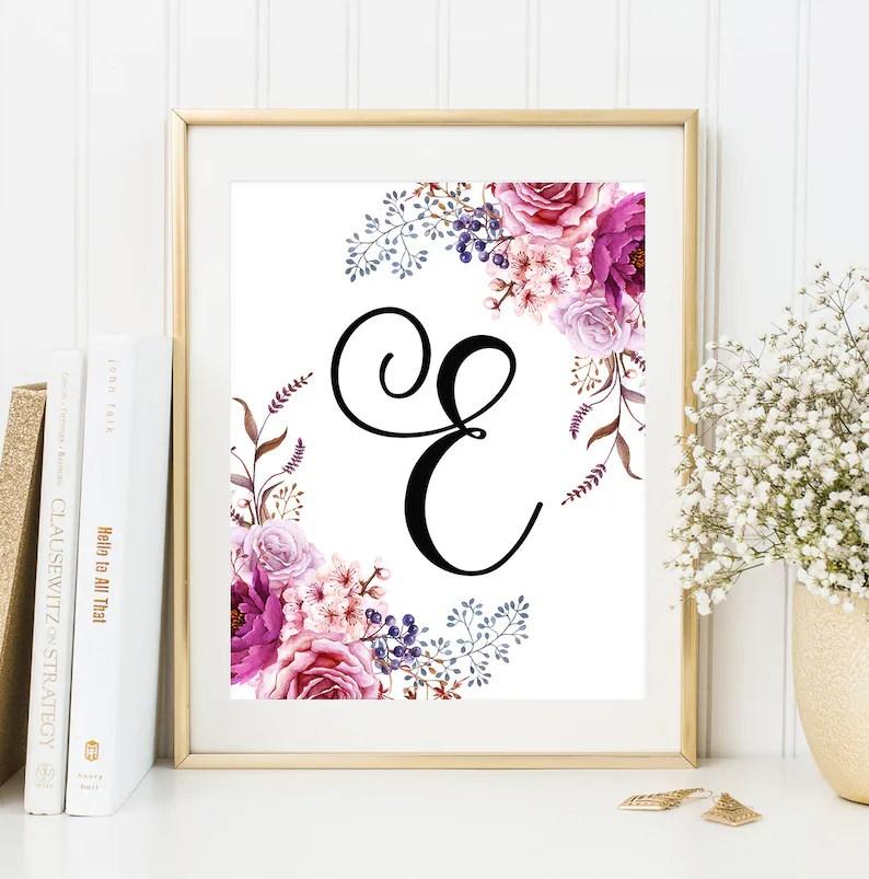 Nursery Monogram E Letter Nursery floral print Initial letter Etsy