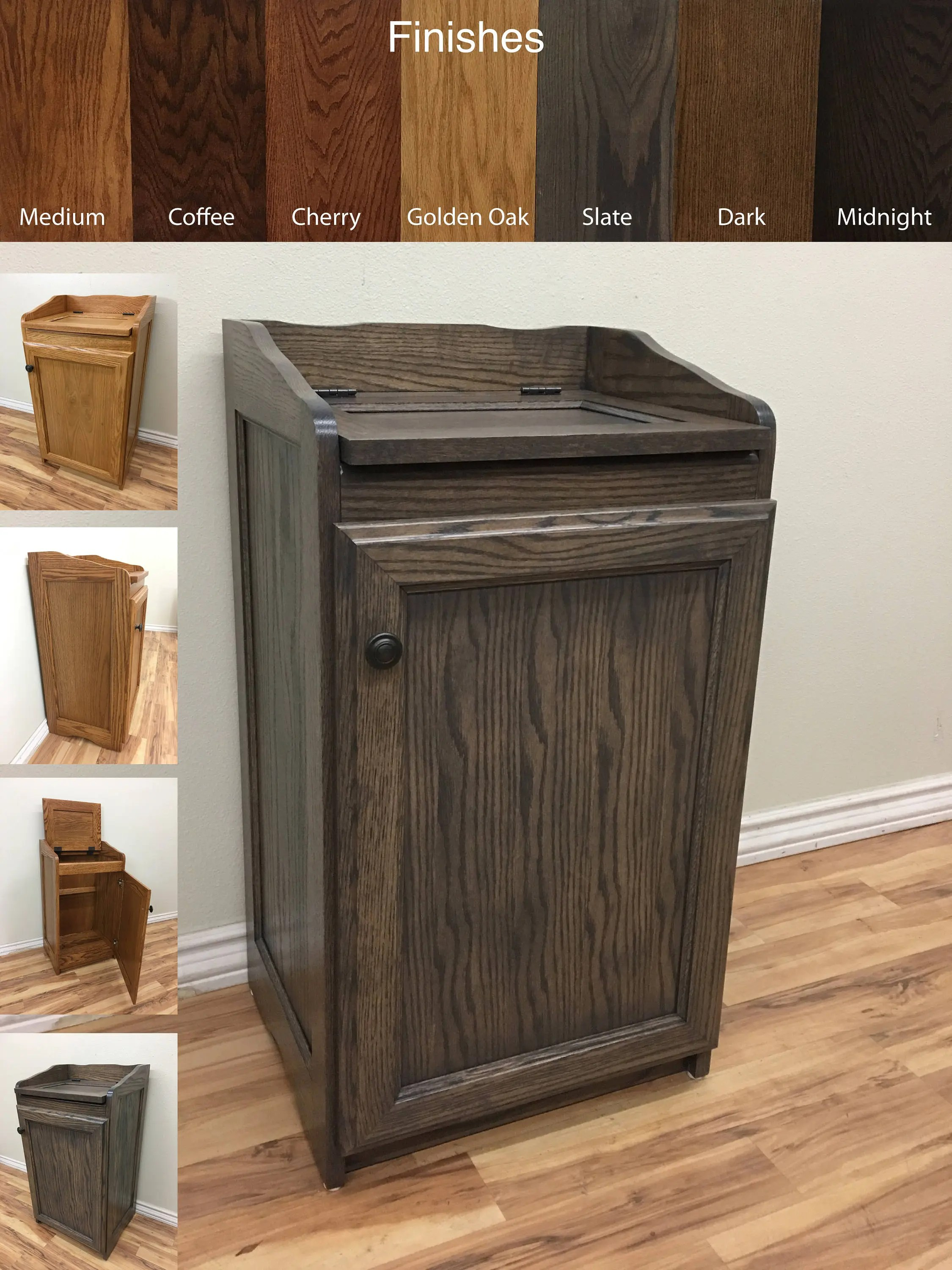 Kitchen Organizer Storage Wood Wastebasket Kitchen Organizer Storage Trash Can Storage Cabinet In Oak Wood