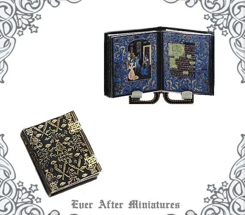 Miniature MEDIEVAL MANUSCRIPT Book of Hours 3 112 Antique Etsy