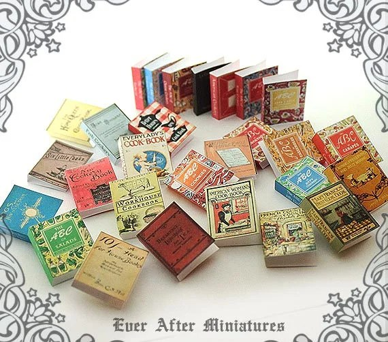 28 VINTAGE COOKBOOK Dollhouse Miniature Book Cover Set 8112 Etsy