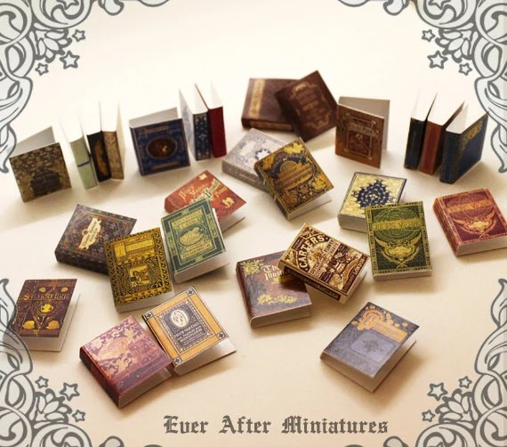 28 Dollhouse Miniature Book Cover Set 3 Collection of 28 Etsy