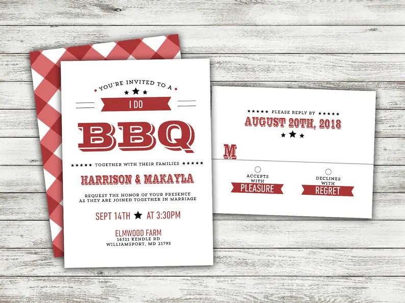I Do BBQ Wedding Invitations Set Printed, Rustic Wedding, Burlap, Kraft,  Country, Outside, Southern Wedding Invitations, Barn, Cookout, Wood