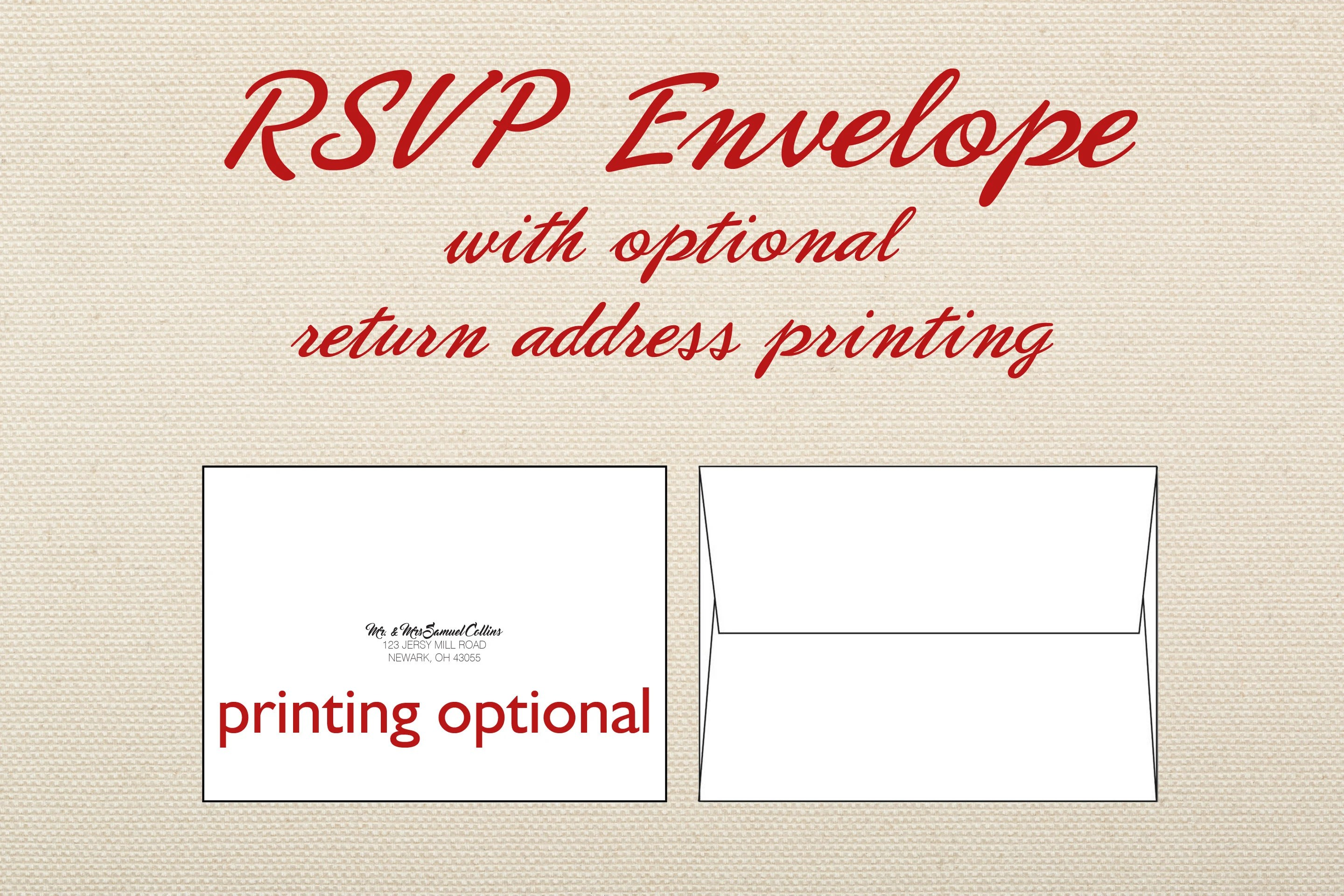 RSVP Envelope Add-on for RSVP card in wedding invite set with Etsy