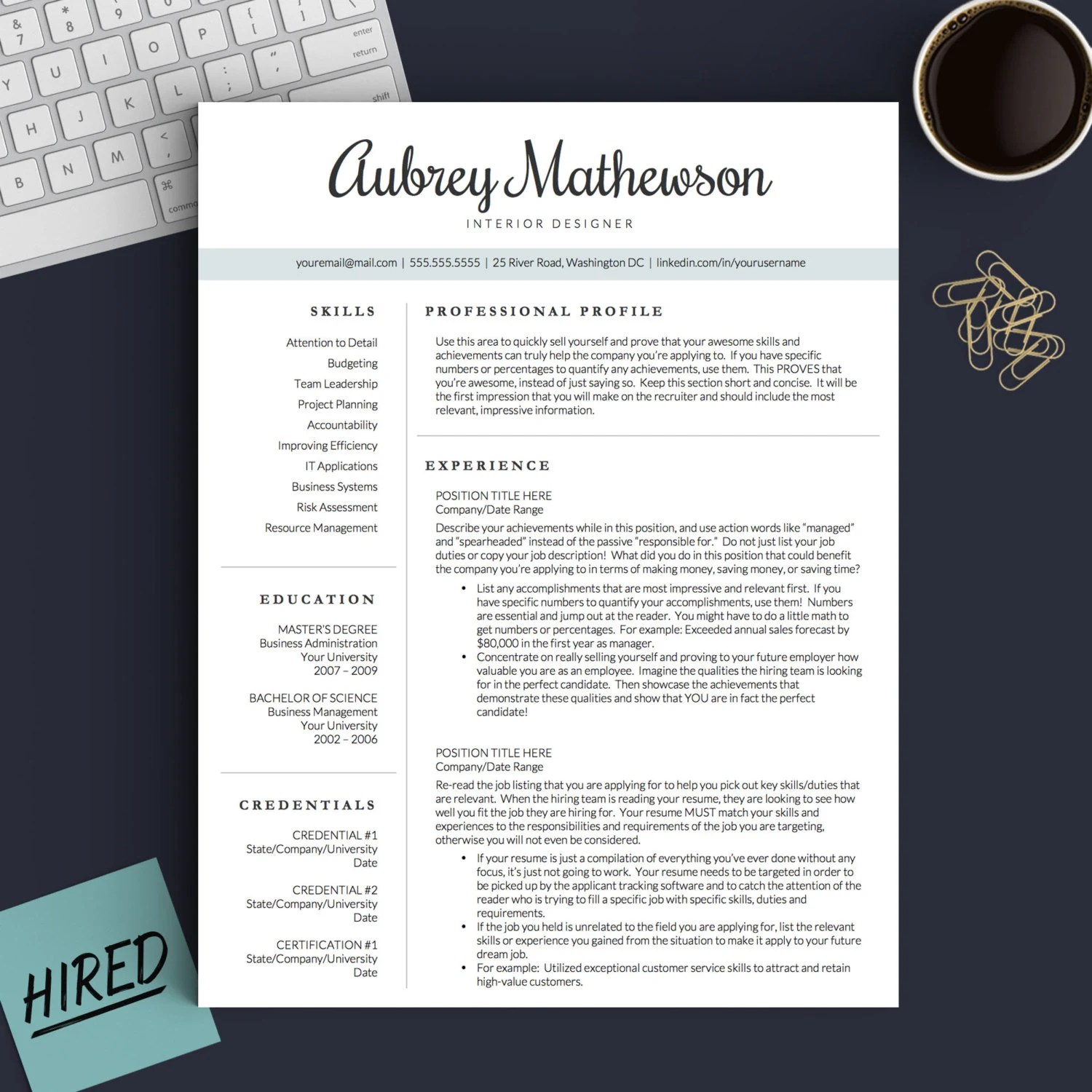 Creative Resume Template for Word  Pages 1 2 and 3 Page Etsy