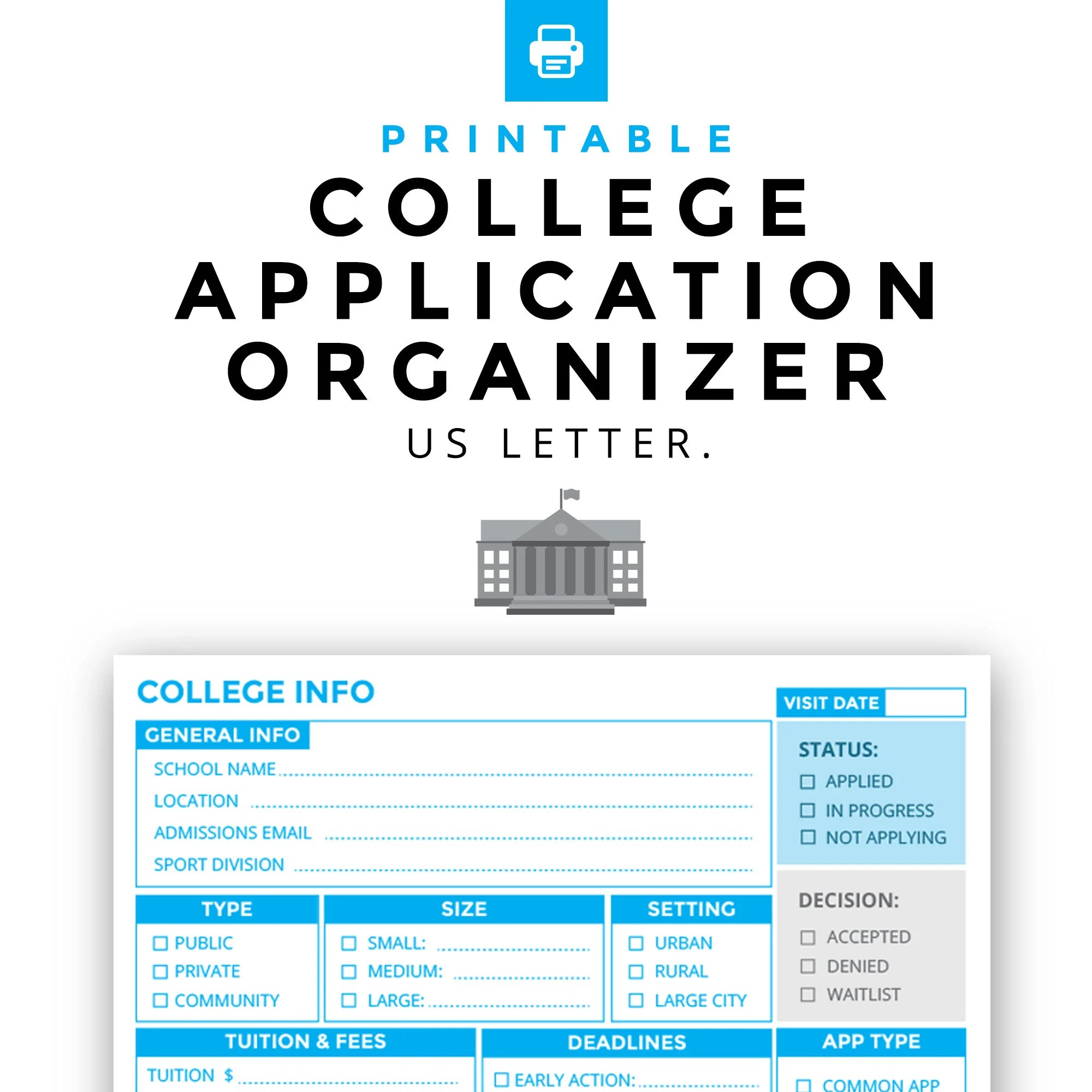 College Application Organizer Printable Etsy