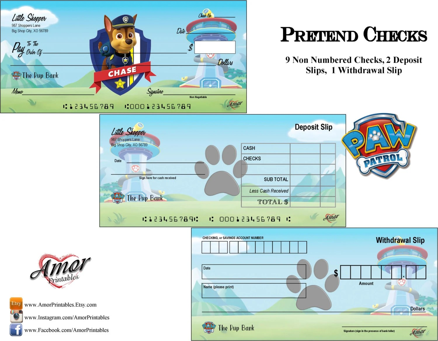 Paw Patrol Pretend Play Checks Play Money Paw Patrol Etsy