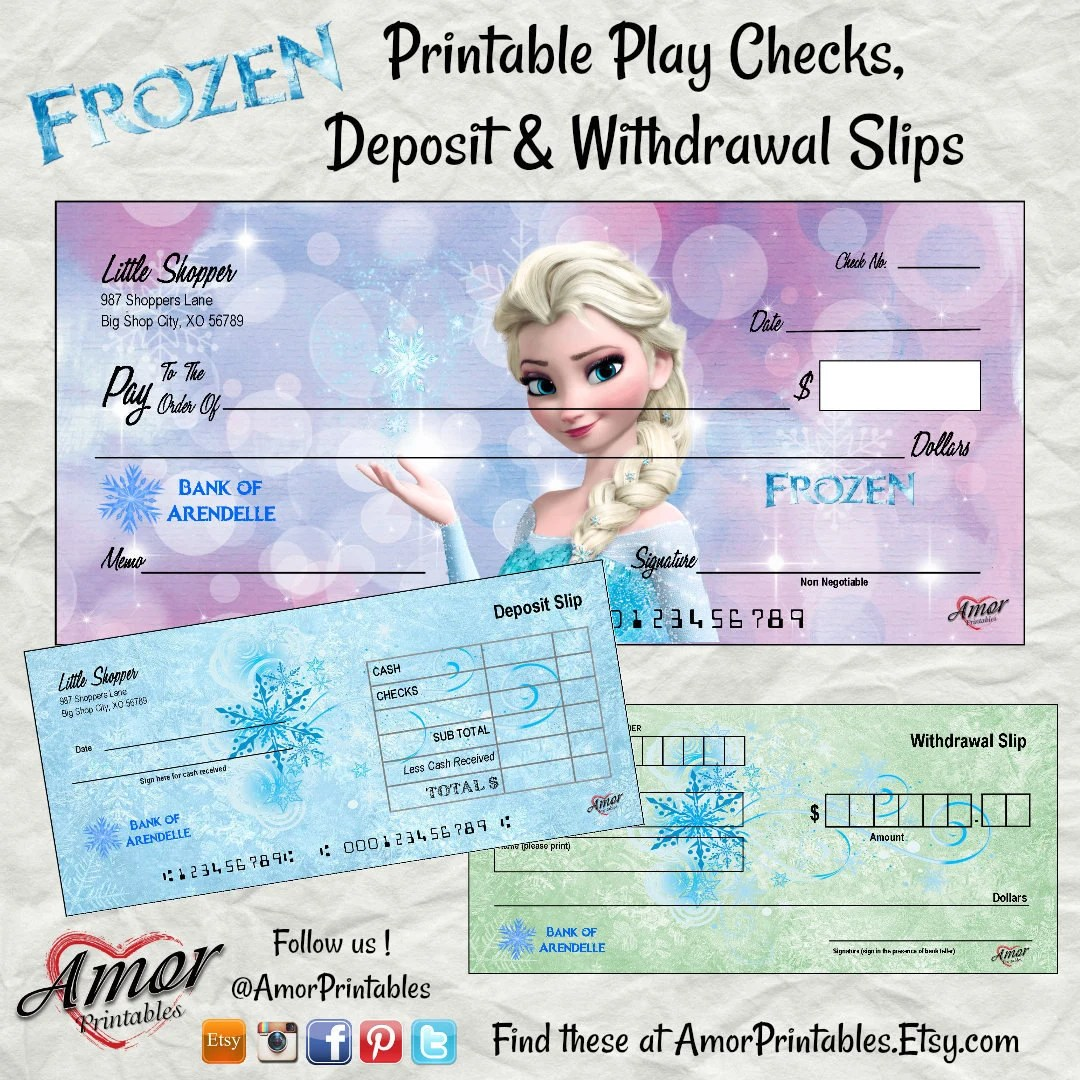 Frozen Pretend Checks Printable Play Money Frozen Party Etsy