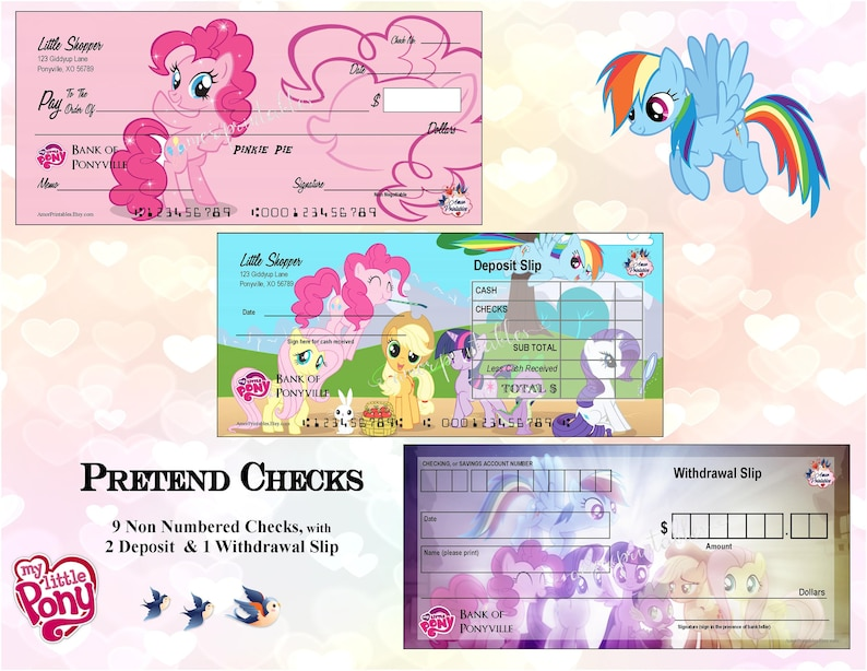 My Little Pony Play Money Pretend Checks My Little Pony Etsy