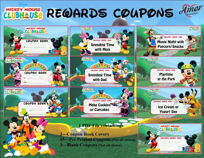 Mickey Mouse Rewards Coupons Printable Rewards Kids Rewards Etsy