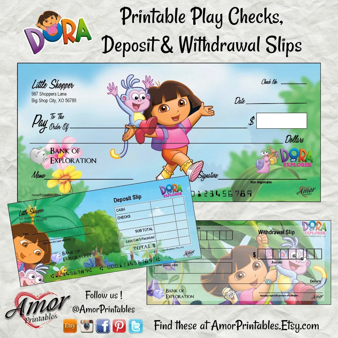 Dora the Explorer Pretend Checks Dora Party Printable Etsy