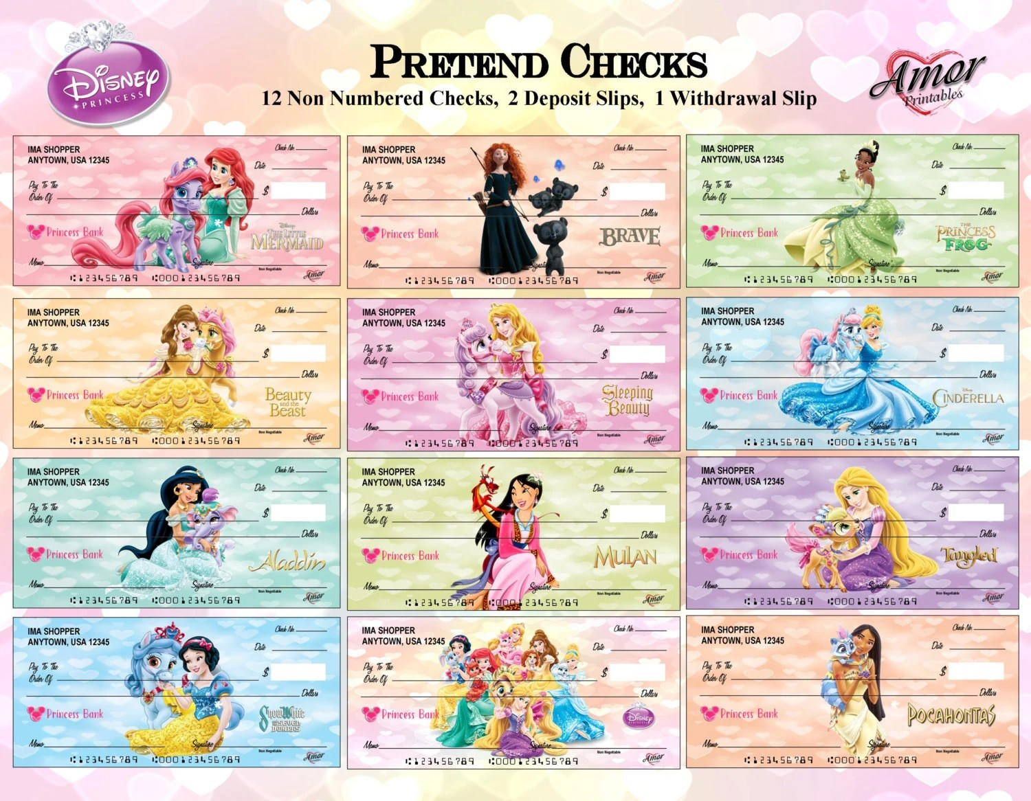 Disney Princess Pretend Play Checks Disney Printables Party Etsy