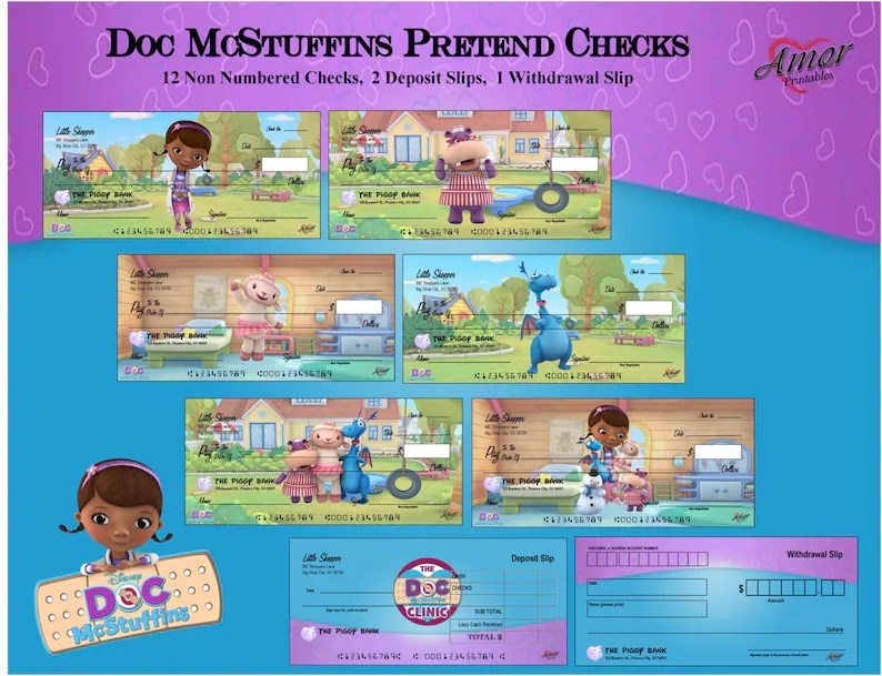 SALE Doc McStuffins Pretend Checks Play Money Doc Etsy