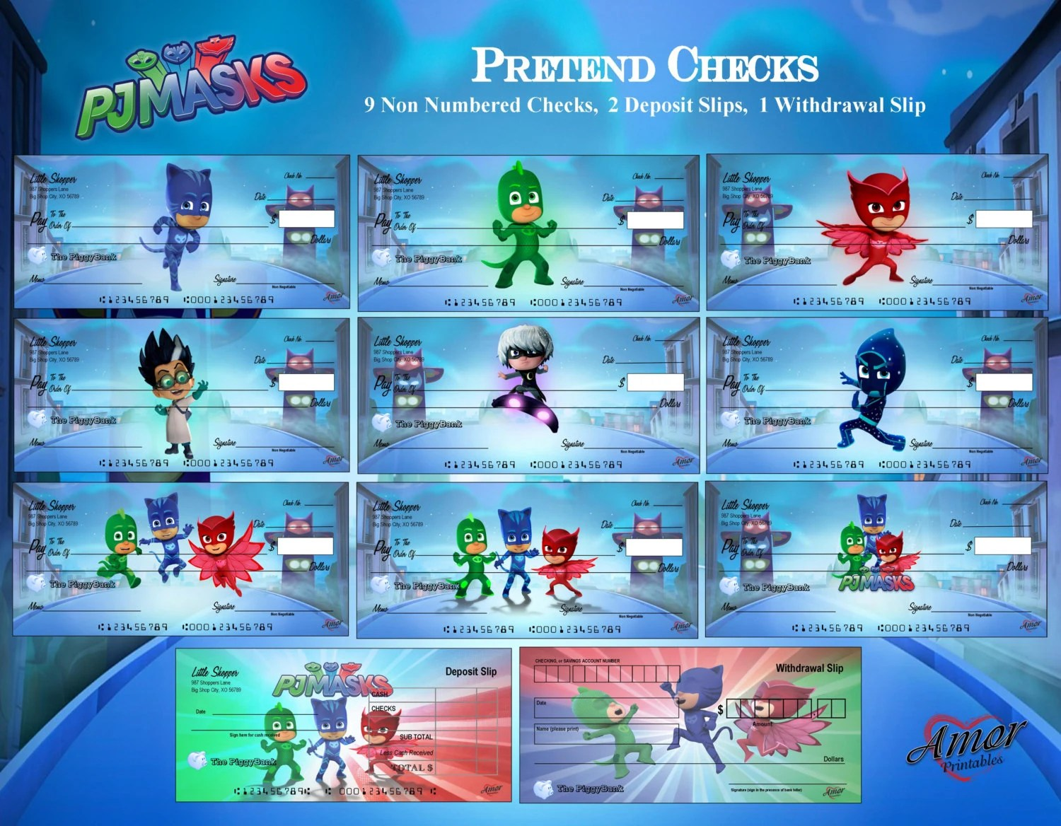 PJ Masks Pretend Play Checks PJ Masks Printables Party Etsy
