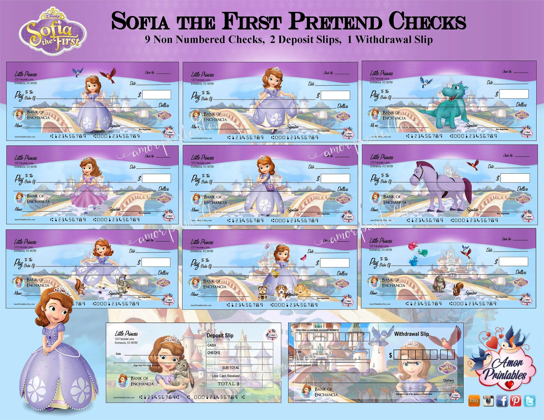 Sofia the First Play Money Checks Sofia Party Printable Etsy