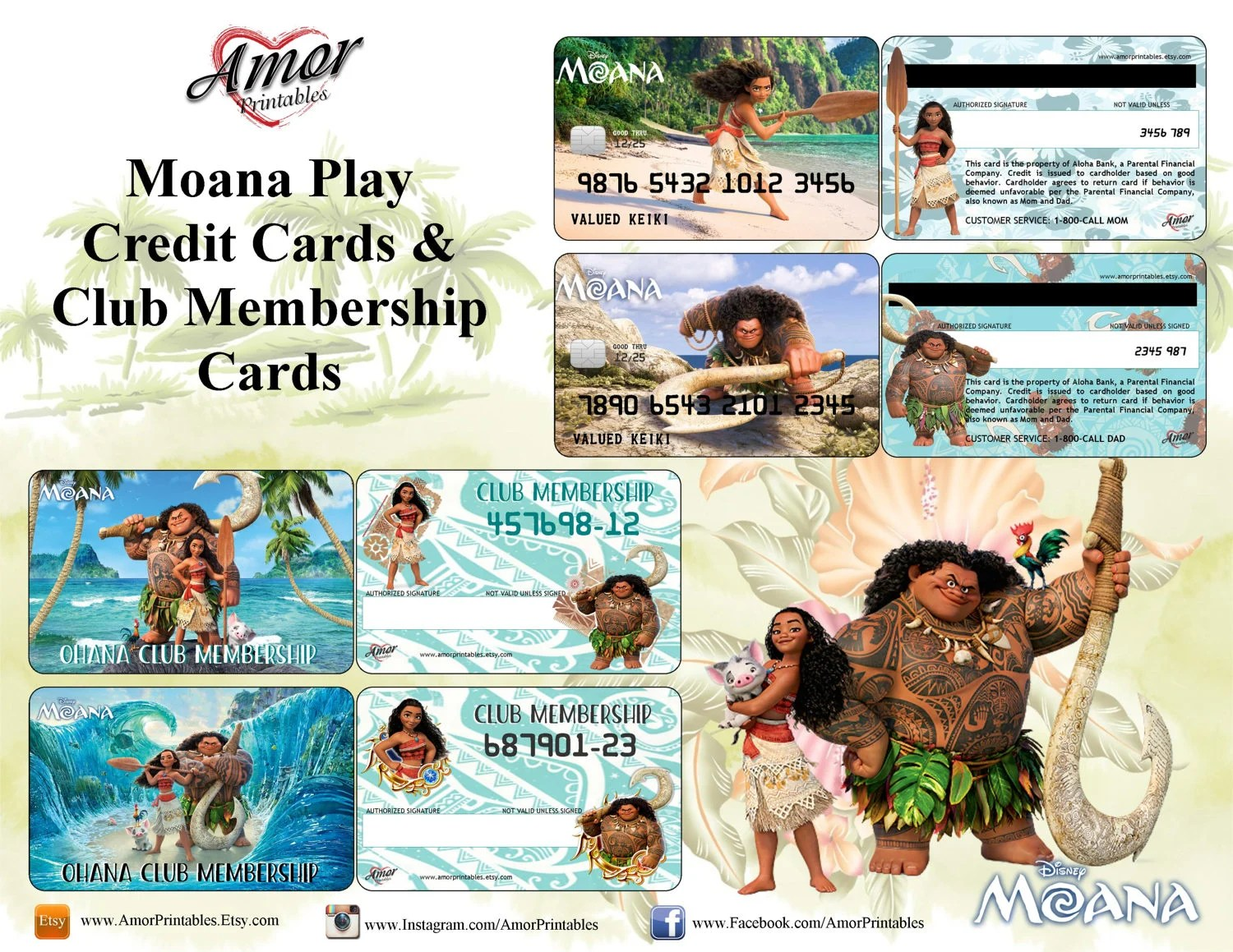 Moana Pretend Credit Cards Membership Cards Party Etsy