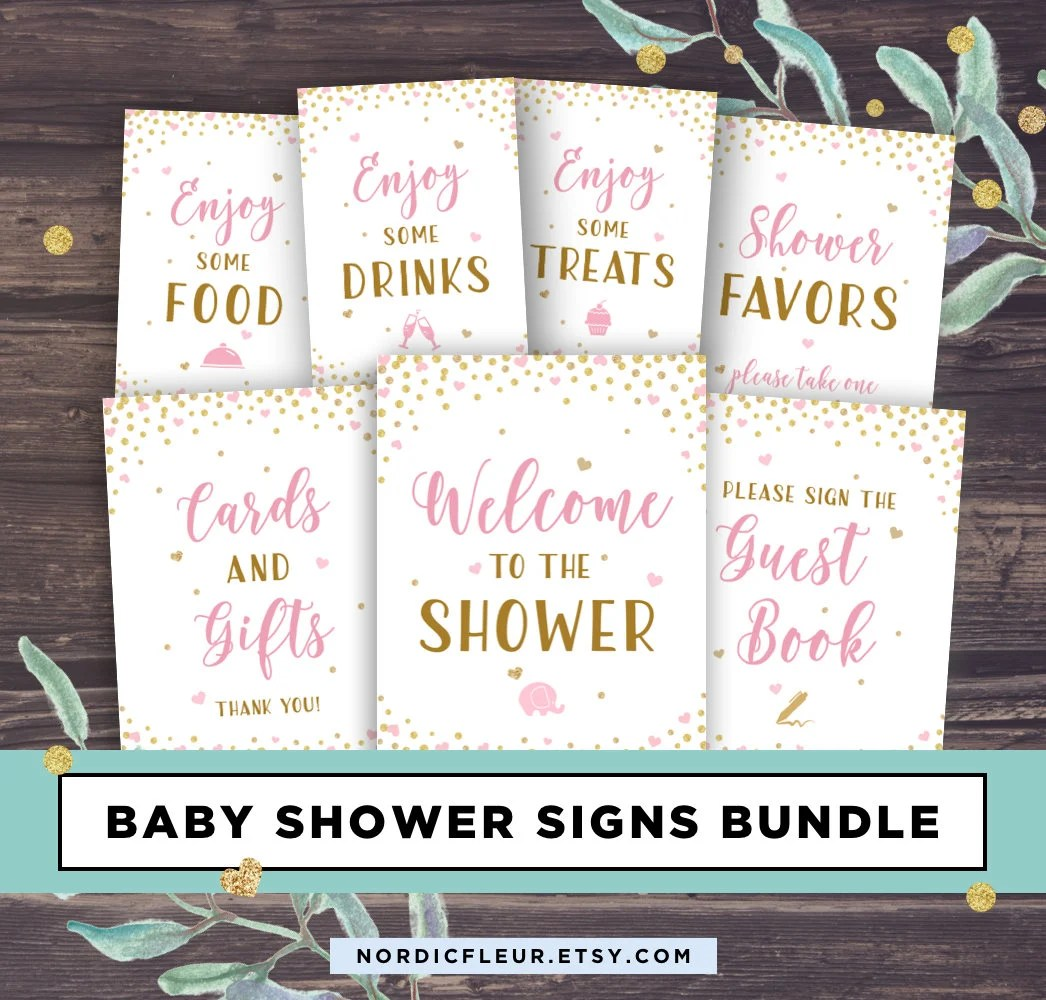 Pink and Gold Baby Shower Signs Printable Baby Shower Etsy