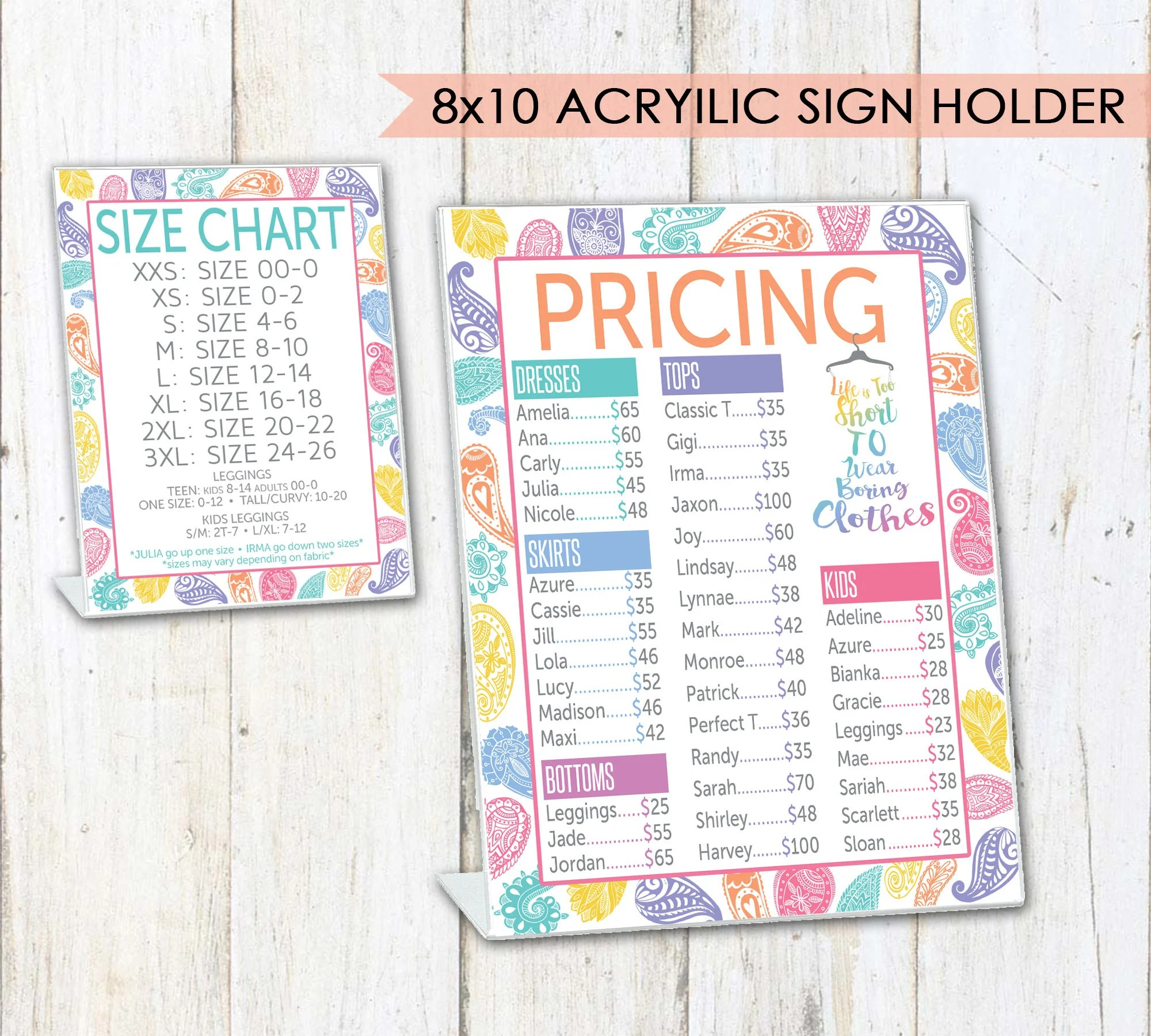 LLR Pricing  Size Charts for Pop-Up Boutiques Paisley Etsy