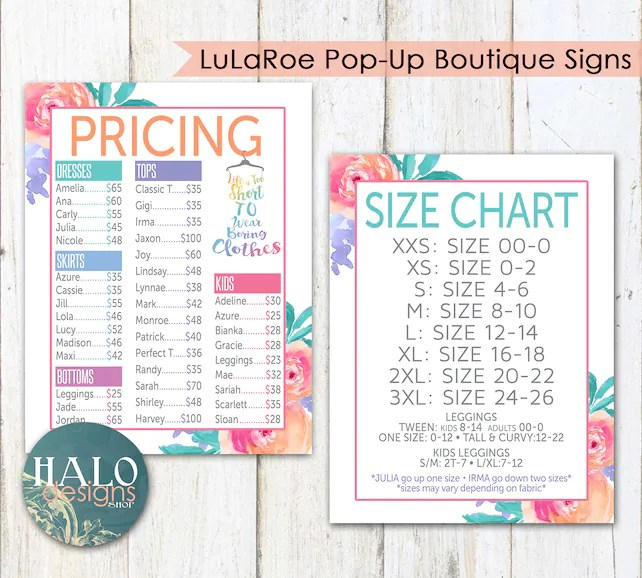 LLR FLORAL Pricing  Size Charts for Pop-Up Boutiques Pink Etsy